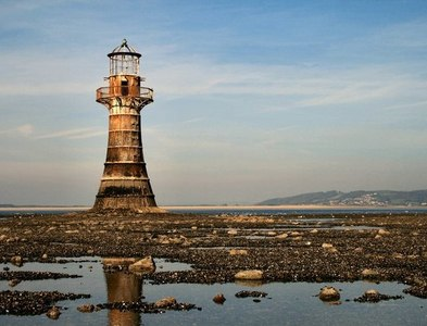 SS4497 : Whitford Point Lighthouse by Martin Edwards