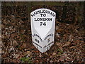 TM2346 : Milepost on the A1214 Main Road, Martlesham by Adrian Cable
