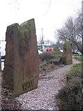SP0694 : Stone Memorials, James Watt and Joseph Priestley, Asda, Queslett by Roy Hughes