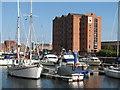 TA0928 : Warehouse 13 and yachts at The Marina Hull by Mark Hope