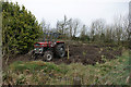 SE0223 : Massey Ferguson working at Moor End, Mytholmroyd. by David Martin
