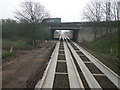 TL4561 : Cambridge Northern Bypass bridge over busway by Keith Edkins