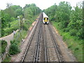 TR1065 : Railway to Whitstable and train heading to Faversham by David Anstiss