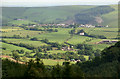 SS9587 : Farmland, Glynogwr and Cwm Ogwr Fach viewed from Ogmore Forest by eswales