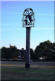 TQ5250 : Village Sign, village green, Weald by N Chadwick