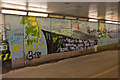 SU4712 : Mural and graffiti in subway south of M27 junction 7 by Peter Facey