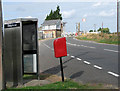 TL6484 : Telephone box and EII postbox just south of Shippea Hill station by Evelyn Simak