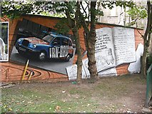 NS5766 : Mural, Kelvingrove Park. 17 - Taxi and credits by Richard Webb
