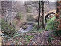 Dist:0.2km<br/>Private footbridge over the Garrell Burn adjacent to the old blackening mill, now a private dwelling. Unseen in this photograph is the weir - for which see http://www.geograph.org.uk/photo/1792704