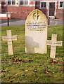 SX5056 : Memorial stone and graves, Efford cemetery - Plymouth by Mick Lobb