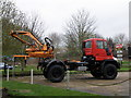 TL2063 : Unimog at Arthur Ibbetts machinery dealership by Michael Trolove