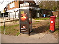 SZ0494 : Alderney: postbox № BH12 239 and phone, Ringwood Road by Chris Downer