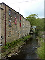 SE0325 : Luddenden Brook as it joins the River Calder by Alexander P Kapp