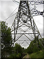 SJ9799 : Pylon straddling the Huddersfield Narrow canal by michael ely