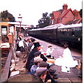 TQ4023 : Costumed school outing at Sheffield Park Railway Station by nick macneill