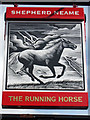 TQ1656 : The Running Horse sign by Oast House Archive