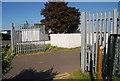 TQ7871 : Saxon Shore Way sign, Hoo Marina by N Chadwick