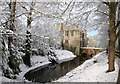 SP6214 : Boarstall Tower and the moat in the snow by Rob Dixon