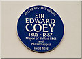 Photo of Edward Coey blue plaque