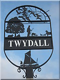 TQ7967 : Close-up of Twydall Village Sign by David Anstiss