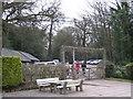 SP1097 : Outdoor Seating, Bracebridge Pool by Michael Westley