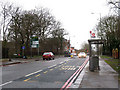 TQ4276 : Bus stop on Academy Road, Woolwich by Stephen Craven