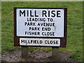 TM3863 : Mill Rise sign by Adrian Cable