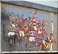 SO2701 : Closeup view of rugby mosaic, Pontypool by John Grayson