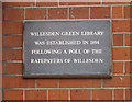 TQ2284 : Plaque on Willesden Green Old Library by David Hawgood