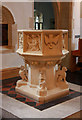 TQ2477 : St Thomas of Canterbury, Rylston Road, Fulham - Font by John Salmon