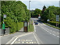 SK4666 : Bus stop on the A617 Mansfield Road at Bramley Vale by Andrew Hill