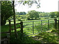 SK3377 : Stile and gate into fields by Cowley Lane by Andrew Hill