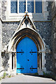 TQ2864 : Holy Trinity, Manor Road, Wallington - Doorway by John Salmon