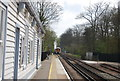 TQ9243 : Ashford Train leaving Pluckley Station by N Chadwick