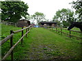 SO5775 : Stabling and paddocks beside the Shropshire Way by Jeremy Bolwell