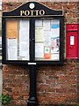 NZ4703 : Notice board and postbox, Potto by Miss Steel