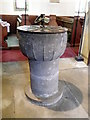 NZ6009 : Font, St Cuthbert's Church by Miss Steel
