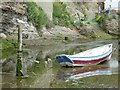 NZ7818 : Gull and boat on Staithes Beck by Rob Farrow
