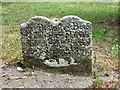 TM3464 : St Michael's church in Rendham - old gravestone by Evelyn Simak