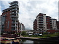 SP0586 : Birmingham canalside apartments by Jeremy Bolwell