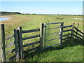 TQ9221 : Gate on Saxon Shore Way beside the River Rother by David Anstiss