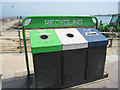 SZ0379 : Recycling bins - Swanage beach by Sebastian Ballard