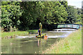 TL3707 : Dredging the New River, Broxbourne, Hertfordshire by Christine Matthews
