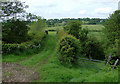 SJ9453 : Farmland, track  and railway bridge west of Denford, Staffordshire by Roger  Kidd