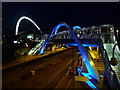 TQ1885 : Wembley: White Horse Bridge floodlit in blue by Chris Downer