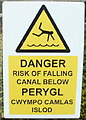 ST2995 : Danger - risk of falling into canal, Cwmbran Retail Park by John Grayson