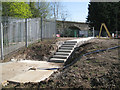 SP3065 : New steps at the sewage pumping station  by Robin Stott