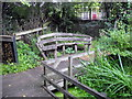 TQ3077 : Bench in Vauxhall Community Gardens by PAUL FARMER