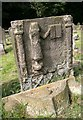 NT2090 : An old gravestone in Auchtertool Parish Churchyard by Walter Baxter