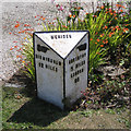 SP2481 : Milestone in a front garden, Main Road  by Robin Stott